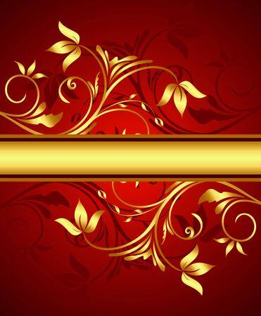 Golden floral background for design.  Vector