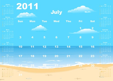 American calendar 2011 with tropic beach, starting from Sundays.   Vector