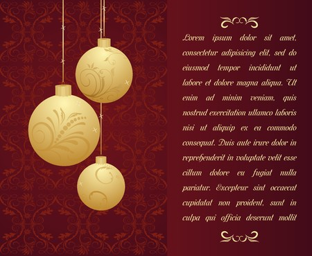 Christmas background with gold balls. Stock Vector - 7852234