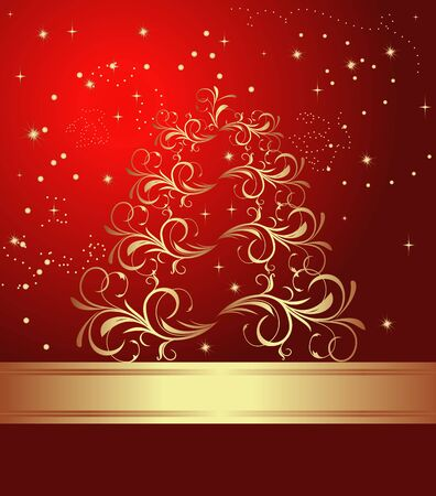 Celebration card with abstract christmas floral tree.  Vector