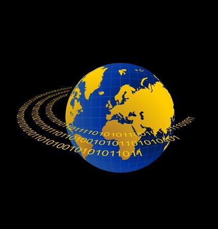terra: Illustration of data stream around terra planet on black background  Illustration