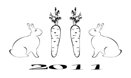 Rabbit is symbol 2011 Chinese new years.  Stock Vector - 7851447