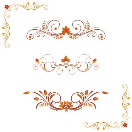 gold corner: Different autumn design elements and corners.
