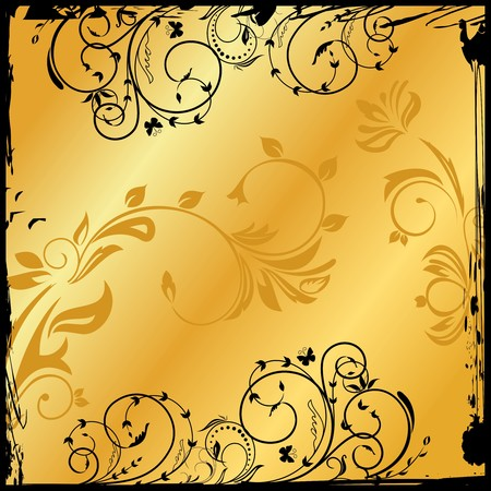 Illustration of gold floral square.   Vector