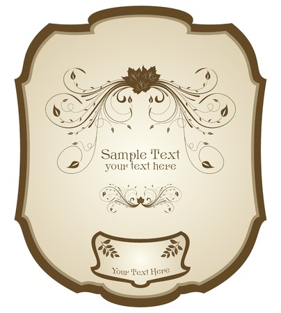 label frame: Illustration of vintage label, wine