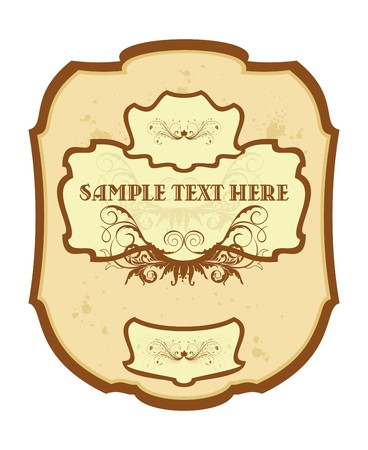 Illustration of vintage label, wine.   Vector