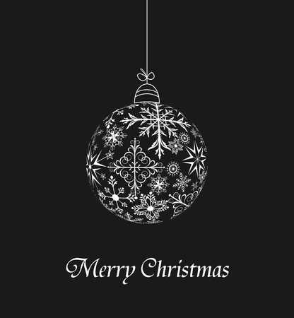 Illustration christmas ball made of snowflakes isolated on a black background