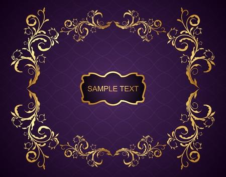 gold letters: Ilustraci�n el fondo violeta floral para el dise�o de embalaje o de invitaci�n Vectores