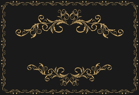 royal background: Illustration the luxury gold pattern ornament borders of black background