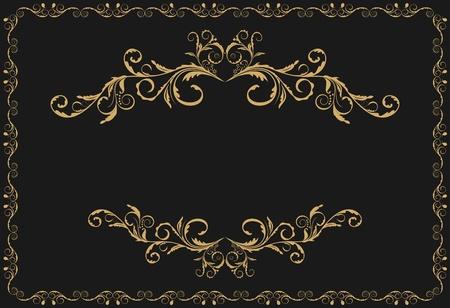 letras doradas: Ilustraci�n el patr�n oro de lujo ornamentar fronteras de fondo negro