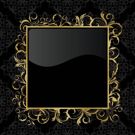 black textured background: Illustration of floral gold frame Illustration