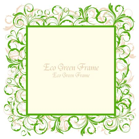 Illustration of floral eco green frame Stock Vector - 8290136