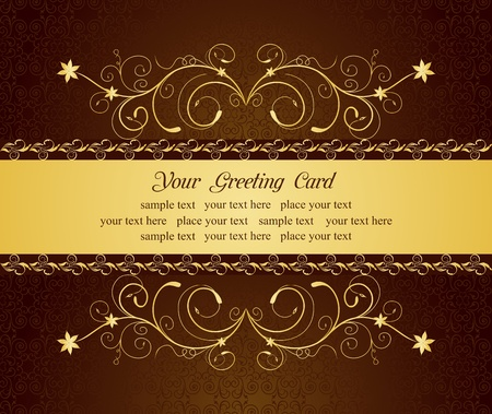 scroll background: Illustration gold floral greeting cards and invitation