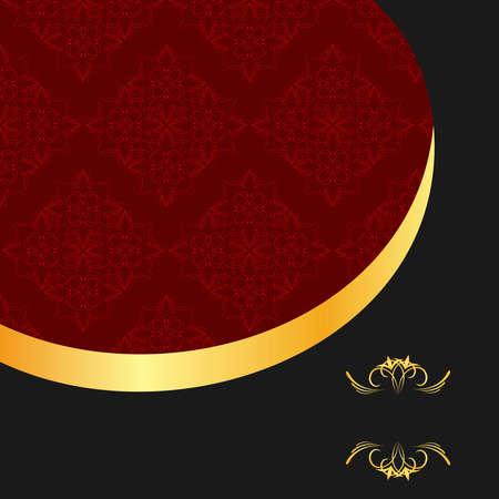 Illustration the black gold red invitation frame for elegant design Stock Vector - 8290254