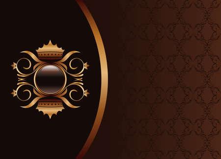 Illustration the black gold brown invitation frame or packing for elegant design Stock Vector - 8290224