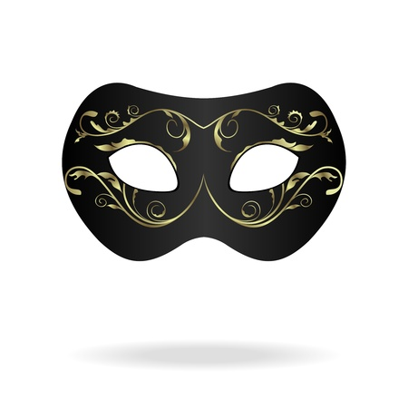 white mask: Illustration of realistic carnival or theater mask isolated on white background