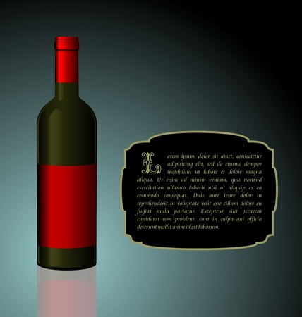 Illustration the elite wine bottle with red blank label for design invitation card Stock Vector - 8290211