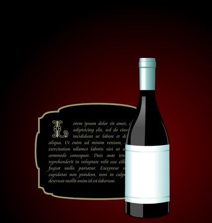 elite: Illustration the elite wine bottle with white blank label for design invitation card