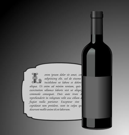 Illustration the elite wine bottle with black blank label for design invitation card