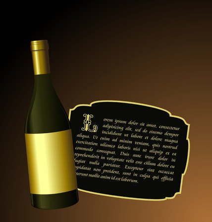 foil: Illustration the elite wine bottle with white gold label for design invitation card Illustration