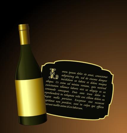 foil: Illustrazione elite vino bottiglia con etichetta oro bianco per progettazione invitation card