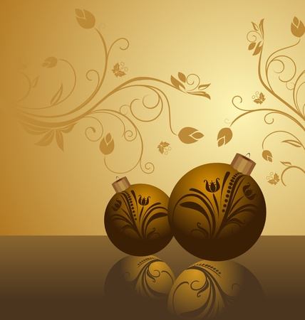 holiday celebrations: Illustration floral background with christmas balls