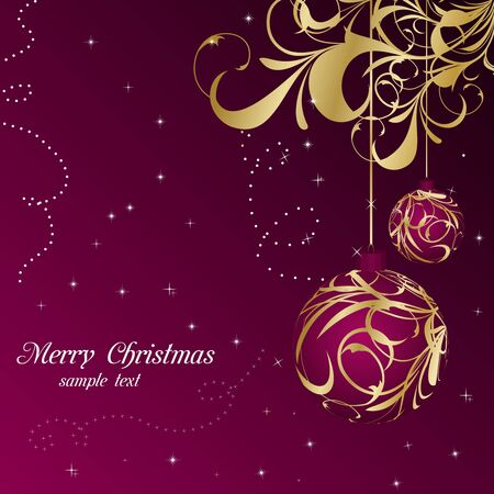 Illustration elegant christmas floral background with balls Stock Vector - 8290143