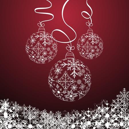 ball: Composici�n de Navidad lindo de la ilustraci�n con bolas