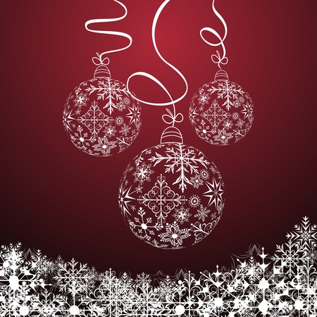 Illustration cute christmas composition with balls Vector