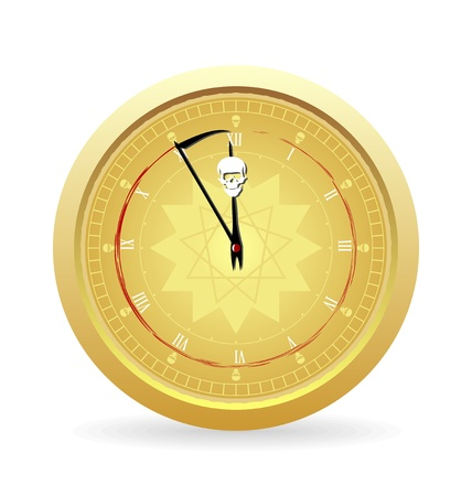 Illustration the clock of the death isolated on a white background Vector
