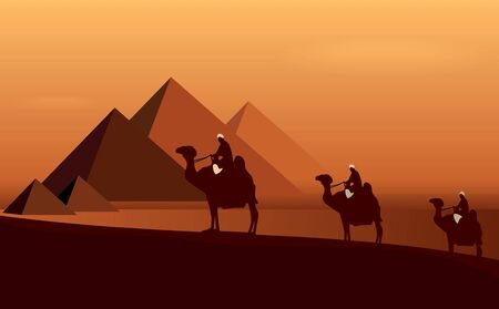 Caravan camels among desert and pyramids.  Vector