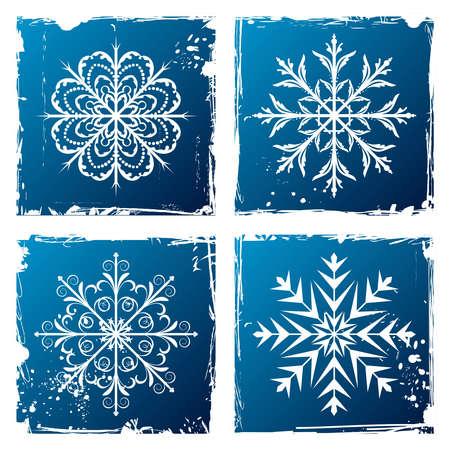 Illustration of set grunge snowflakes Vector