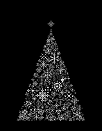 Illustration Christmas tree made of snowflakes on black background Vector