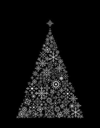 Illustration Christmas tree made of snowflakes on black background