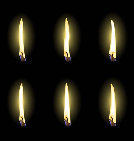 Set of realistic flames are isolated.  Vector