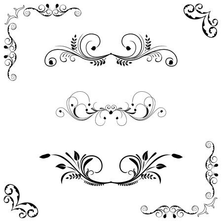 accents: Conjunto de marco floral y frontera.