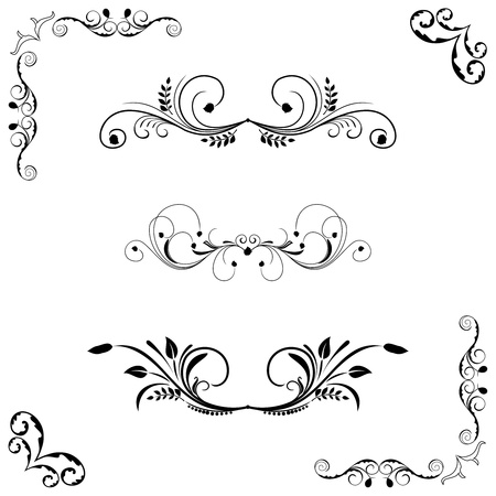 scheidingslijnen: Set floral frame en border.  Stock Illustratie