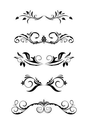 scroll design: Illustration vintage borders, design elements Illustration