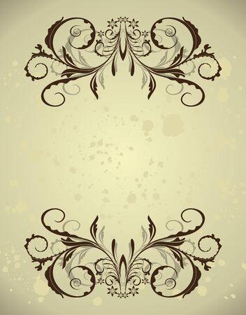 Vintage floral frame with blots.  Vector