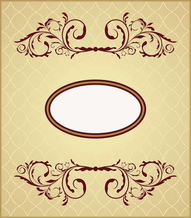 イラスト デザイン カードの花のビンテージ フレーム