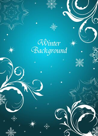 Illustration winter floral background with snowflake Vector