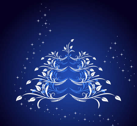 Celebration card with abstract christmas floral tree Vector