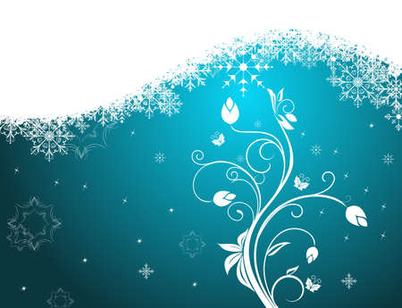 floral ornaments: Illustration winter floral background with snowflake