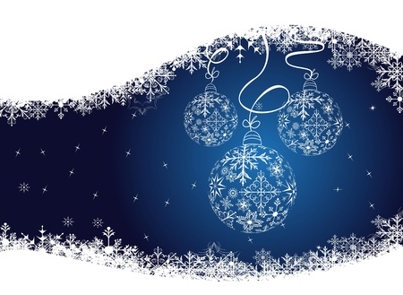 blizzards: Illustration christmas background with balls made of snowflakes Illustration