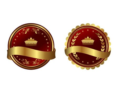 Illustration two red gold-framed labels   illustration
