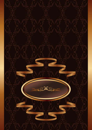 Illustration royal background with golden frame and ribbon   Stock Illustration - 8716457