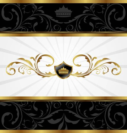 Illustration ornate golden decorative frame - vector illustration