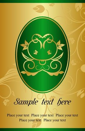 Illustration golden background with label for packing design   illustration