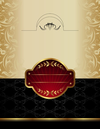 Illustration of gold wine label  illustration