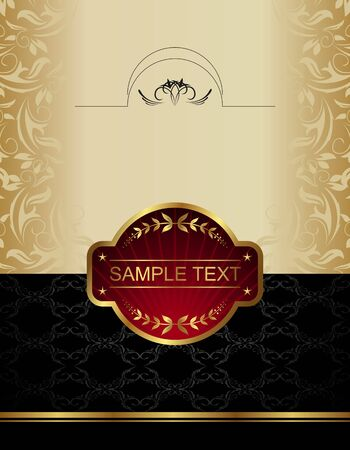 Illustration of gold wine label